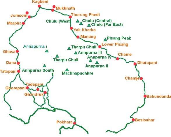Annapurna map trek
