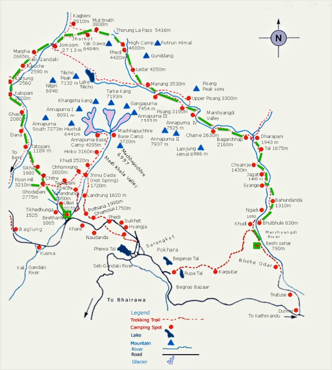 Annapurna Circuit Trekking Route and Map