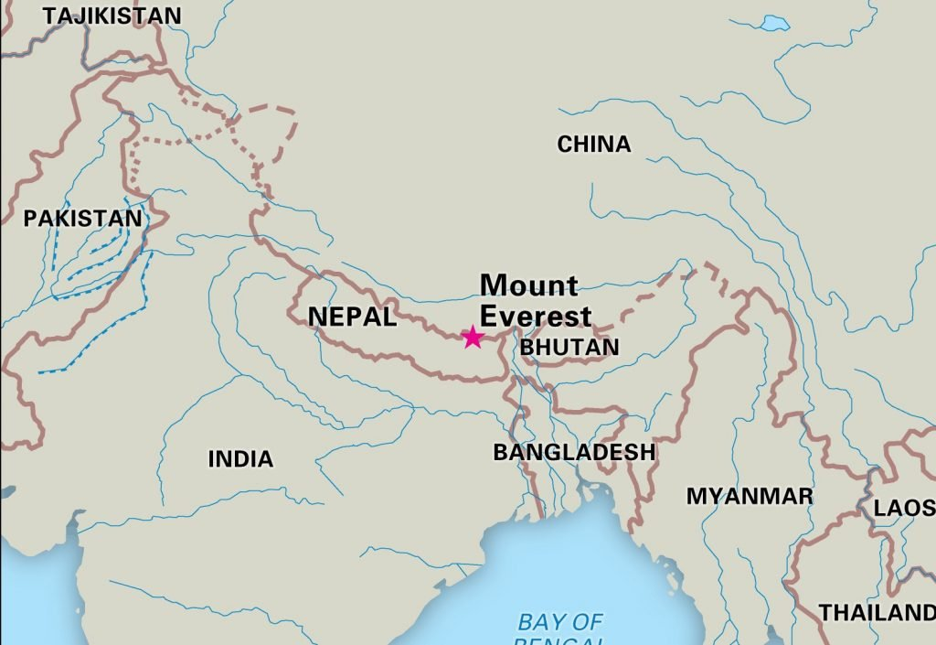 Mount Everest in Map